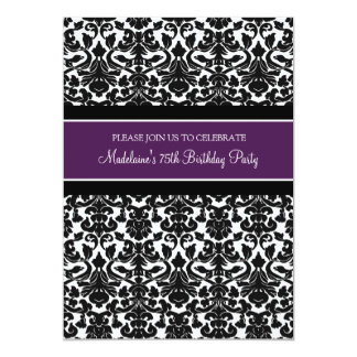 Plum Damask 75th Birthday Party Invitations