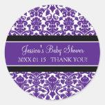 Plum Damask Baby Shower Favor Stickers