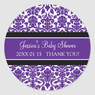 Plum Damask Baby Shower Favor Stickers