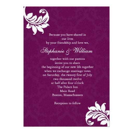 Plum Damask Monogram Wedding Invitation 5 X 7 Invitation Card Z