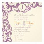 "Plum Damask Orange Monogram Wedding Invitation 5.25"" Square Invitation Card"