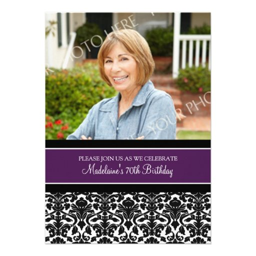Plum Damask Photo 70th Birthday Party Invitations