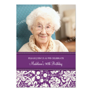 "Plum Damask Photo 90th Birthday Party Invitations 5"" X 7"" Invitation Card"