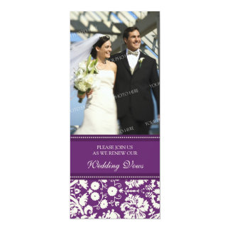 "Plum Damask Photo Wedding Vow Renewal Invitations 4"" X 9.25"" Invitation Card"