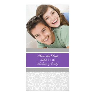 Plum Damask Save the Date Wedding Photo Cards