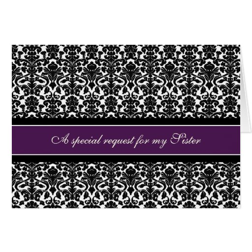 Plum Damask Sister Maid of Honor Invitation Greeting Card
