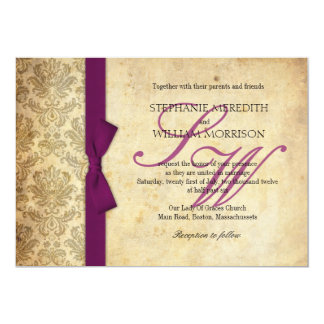 Plum Damask Vintage Bow Wedding Invitation