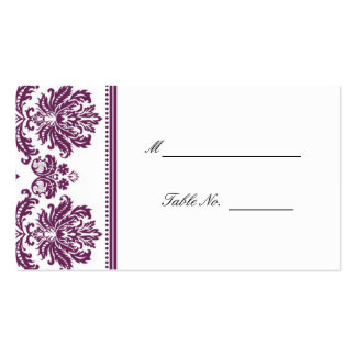 Plum Damask Wedding Seating Placecards Double-Sided Standard Business Cards (Pack Of 100)