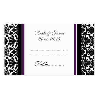 Plum Damask Wedding Table Place Setting Cards Double-Sided Standard Business Cards (Pack Of 100)