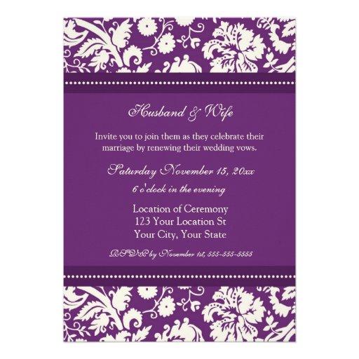 Plum Damask Wedding Vow Renewal Invitations 5 X 7 Invitation Card