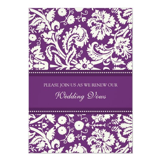 Plum Damask Wedding Vow Renewal Invitations Zazzle Com