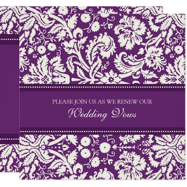 Plum Damask Wedding Vow Renewal Invitations | Zazzle