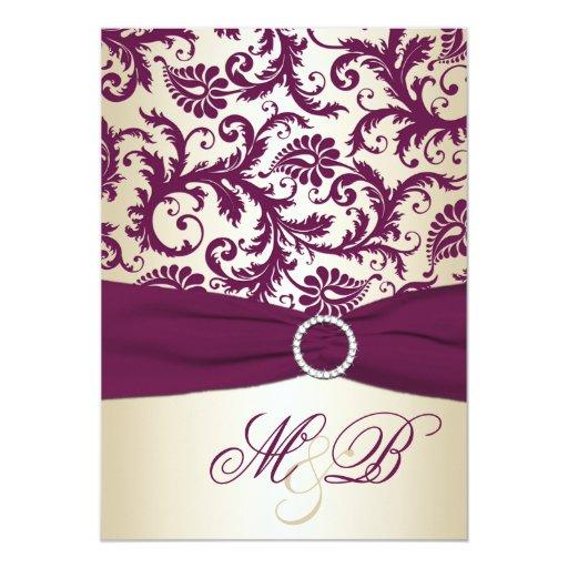 "Plum Damask with PRINTED Ribbon Wedding Invite 5"" X 7"" Invitation Card"