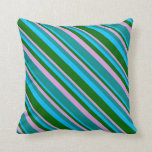 [ Thumbnail: Plum, Dark Cyan, Deep Sky Blue, and Dark Green Throw Pillow ]
