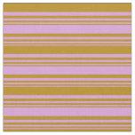 [ Thumbnail: Plum & Dark Goldenrod Colored Striped Pattern Fabric ]