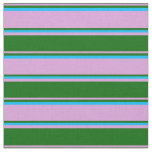 [ Thumbnail: Plum, Dark Green, and Deep Sky Blue Pattern Fabric ]