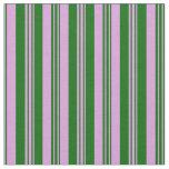 [ Thumbnail: Plum & Dark Green Lined/Striped Pattern Fabric ]
