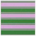 [ Thumbnail: Plum & Dark Green Stripes Pattern Fabric ]