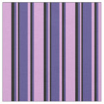 [ Thumbnail: Plum, Dark Slate Blue & Black Colored Lines Fabric ]