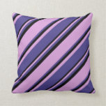 [ Thumbnail: Plum, Dark Slate Blue & Black Colored Lines Pillow ]