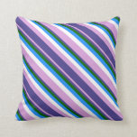 [ Thumbnail: Plum, Dark Slate Blue, Dark Green, Blue & White Throw Pillow ]