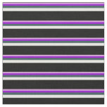 [ Thumbnail: Plum, Dark Violet, Dark Slate Gray, White & Black Fabric ]