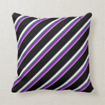 [ Thumbnail: Plum, Dark Violet, Dark Slate Gray, White & Black Throw Pillow ]