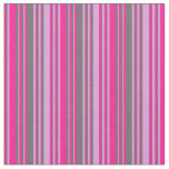 [ Thumbnail: Plum, Dim Gray & Deep Pink Lined/Striped Pattern Fabric ]