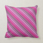[ Thumbnail: Plum, Dim Gray & Deep Pink Lined/Striped Pattern Throw Pillow ]