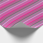 [ Thumbnail: Plum, Dim Gray & Deep Pink Lined/Striped Pattern Wrapping Paper ]