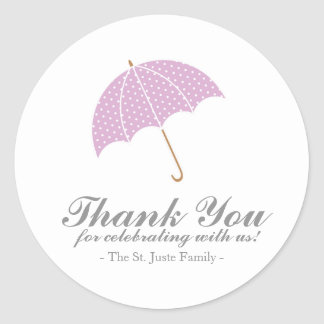 plum dot umbrella BABY SHOWER party favor sticker