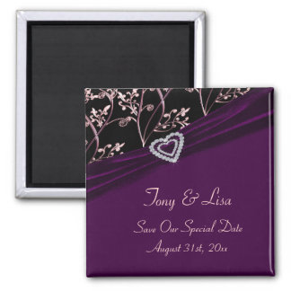 Plum Elegance Heart Floral Swirls 2 Inch Square Magnet