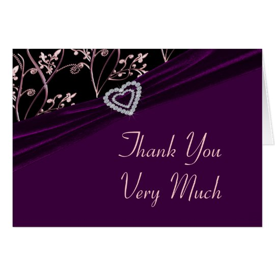 Plum Elegance Heart Floral Swirls Card