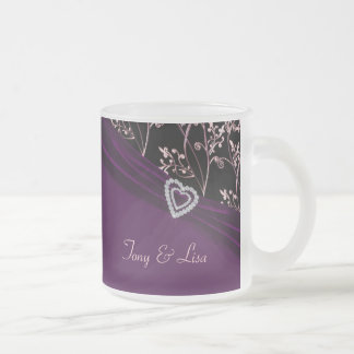 Plum Elegance Heart Floral Swirls Frosted Glass Coffee Mug