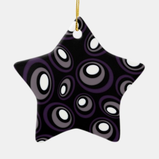 Plum & Fawn Offset Retro Ovals Double-Sided Star Ceramic Christmas Ornament