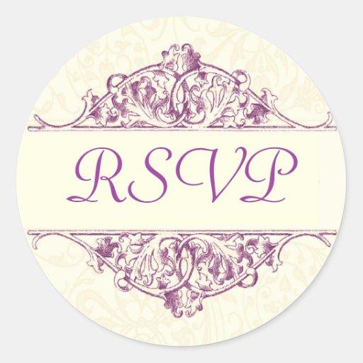 Plum Filigree RSVP Sticker