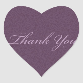 Plum Filigree Thank You Sticker/Seal Heart Sticker