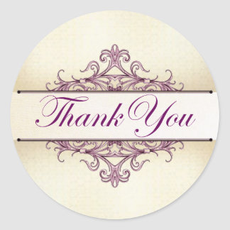 Plum Filigree with Champagne Thank You Sticker
