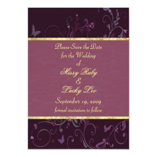 Plum Floral & Purple Ribbon Save the Date Card