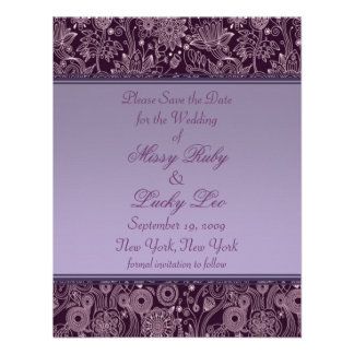 Plum Floral Save the Date Announcement 4 25 x 5 5