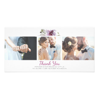 Plum Floral Watercolor 3 Photos Wedding Thank You Card