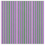 [ Thumbnail: Plum, Forest Green & Dark Orchid Striped Pattern Fabric ]