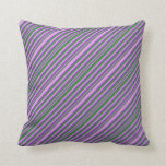 [ Thumbnail: Plum, Forest Green & Dark Orchid Striped Pattern Throw Pillow ]