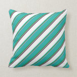 [ Thumbnail: Plum, Forest Green, Light Sea Green, White & Black Throw Pillow ]