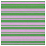 [ Thumbnail: Plum & Forest Green Striped Pattern Fabric ]