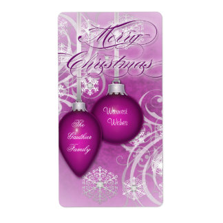 Plum Frosted Flourishes Holiday Wine Label