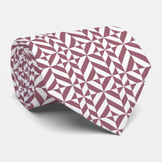 Plum Geometric Deco Cube Pattern Neck Tie