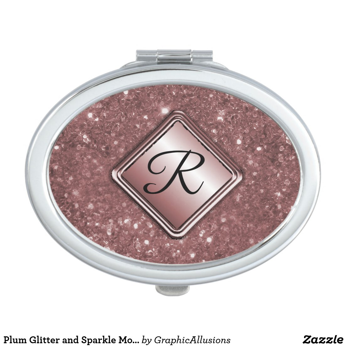 Plum Glitter and Sparkle Monogram Makeup Mirror