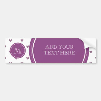 Plum Glitter Hearts with Monogram Bumper Sticker