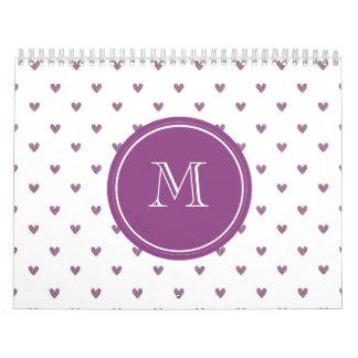 Plum Glitter Hearts with Monogram Calendars